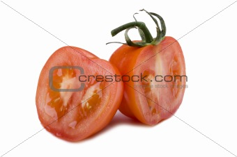 Cutting tomato close up