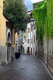 View of a narrow street in Arco, North Italy