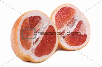 Cutting pomelo macro