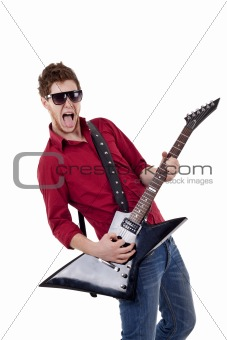 young musician screaming