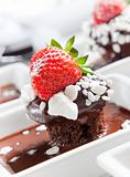 chocolate mudcake with strawberry