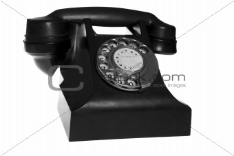 Black retro phone isolated on white background