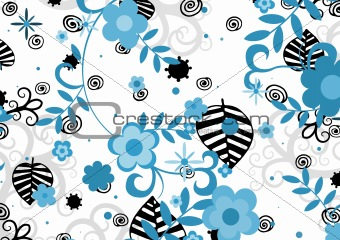 Blue and black flowers