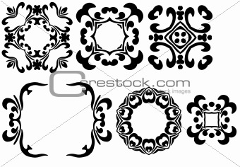 Six black frames
