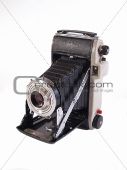 Old camera on a white background.