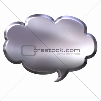 3D Silver Speech Bubble