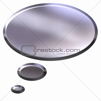 3D Silver Thought Bubble