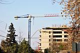 Crane of building