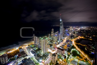 night scene of the gold coast with the Q1