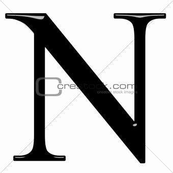3D Greek Letter Ny