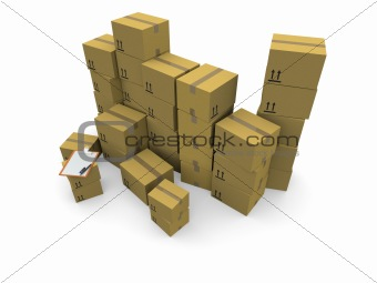 3D piles of cardboard boxes