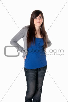 Young female cheerful with arms crossed isolated on white background.