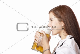 Beautiful woman in dirndl cloth holds Oktoberfest beer stein