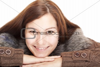 Beautiful young happy smiling woman lying on floor