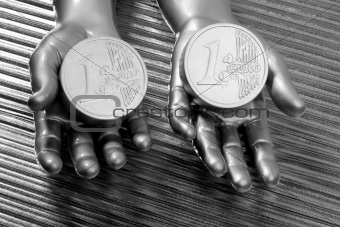 two silver euro coins in futuristic robot hands