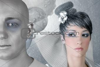fahion makeup hairstyle woman futuristic silver alien
