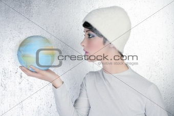 fashion modern silver woman holding global map