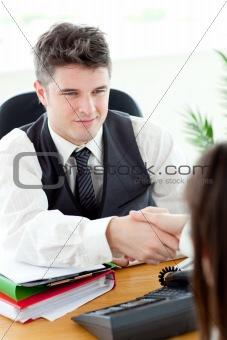 Charismatic businessman closing a deal