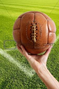 Aged vintage retro football leather ball