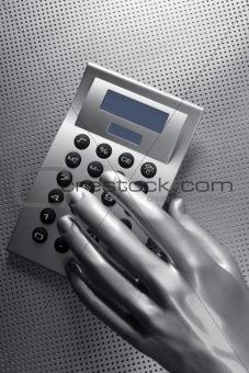 business futuristic silver hand calculator