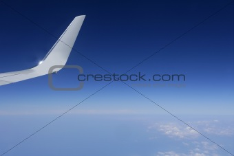 Aircraft wing detail flying high up