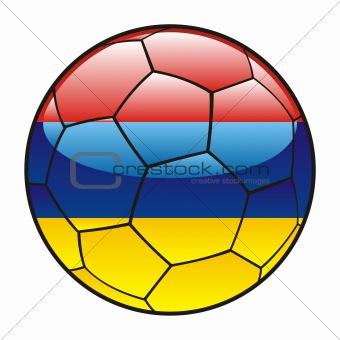 Armenia flag on soccer ball