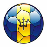 Barbados flag on soccer ball