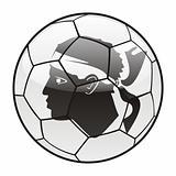 Corsica flag on soccer ball