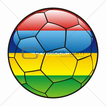 Mauritius flag on soccer ball