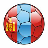 Mongolia flag on soccer ball