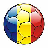 Romania flag on soccer ball