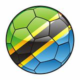 Tanzania flag on soccer ball