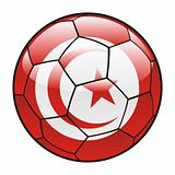 Tunisia flag on soccer ball