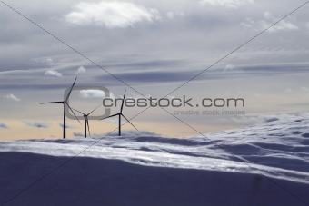aerogenerator electric windmills snow mountain