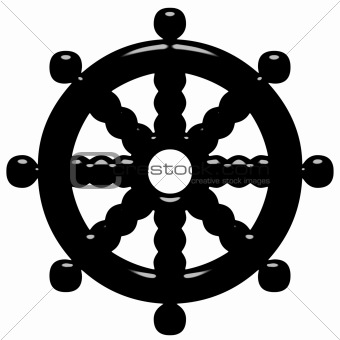 3D Buddhism Symbol Wheel of Dharma