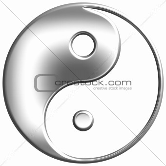 3D Silver Tao Symbol 
