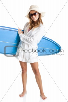 Woman with a surfboard