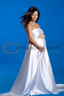 Beautiful pregnant woman posing over a blue background