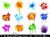 Grungy design colorful elements. Vector set (4)