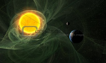 Abstract Sun with Earth and Moon