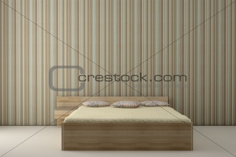 bedroom and striped wallpaper