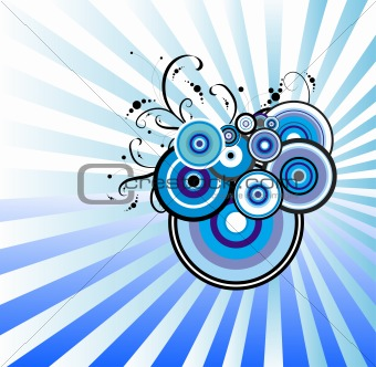 Blue abstract flower. Floral background. Vector