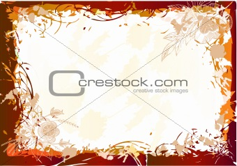 Grunge frame background with flower. Vector