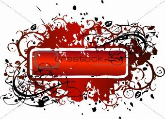 Grunge floral red frame signs. Vector