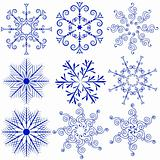 Set blue snowflakes