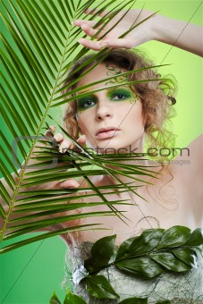 dryad girl with fern