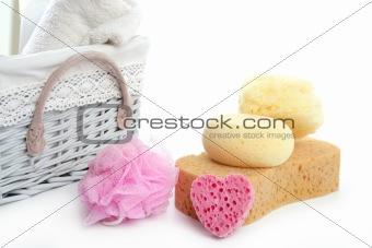 Toiletries stuff sponge gel shampoo towels