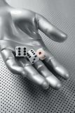 Dices gambling hand futuristic metaphor