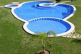 blue swimming pool round shapes
