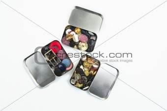 three clothing buttons metal boxes collection